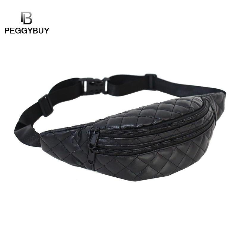 Fashion Women Shoulder Waist Bag Black Lattice Fanny Chest Pack for ... 5ff9bb29329b0