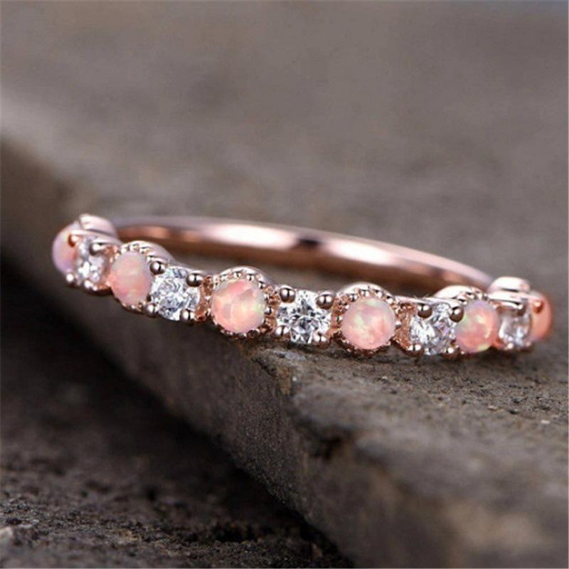 Best Sellers New Pattern Plating 14k Rose Gold Silver Plating Opal Ring  European Fashion Diamond Book Wedding