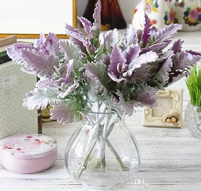 aa757051ef8 Artificial Miller Plants Home wedding Christmas DIY decoration Fake Flowers  Wedding Arrangement Faux Foliage Purple Leaves