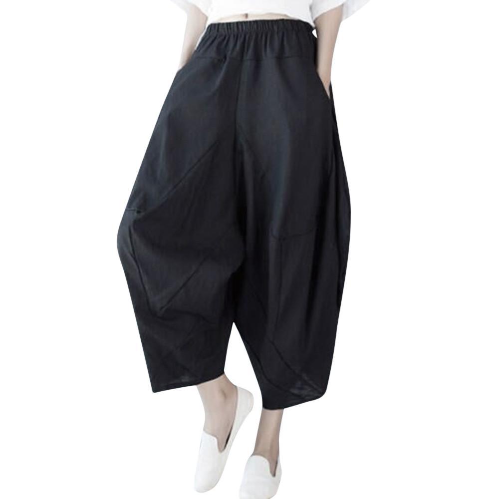 01cb762f0b 2019 New Harlan Loose Pants Donna Casual Solid Oversize Harem Pants  Pantaloni estivi in cotone per pantaloni estivi in cotone