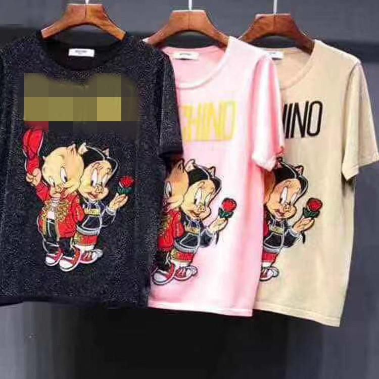 Woman's T-shirt short-sleeved clothes Quality Thin Money Exceed Fine Gold Thread Knitting Short Sleeve Sweater Female Piglet Pattern