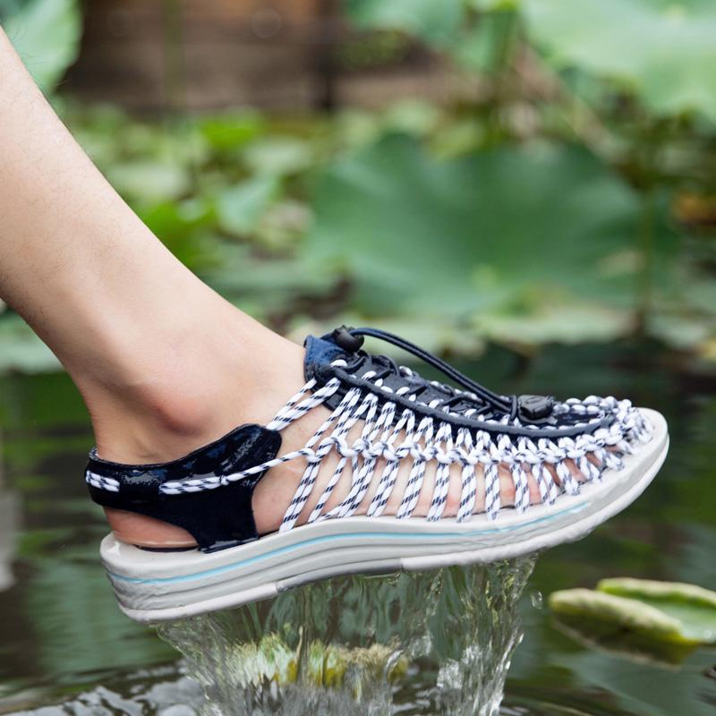 ca89332cf28 Men Sandals Fashion Handmade Weaving Mesh Summer Design Outdoor Breathable  Casual Beach Shoes Unique Brand Sandals For Men L5 Shoes Uk Flat Sandals  From ...