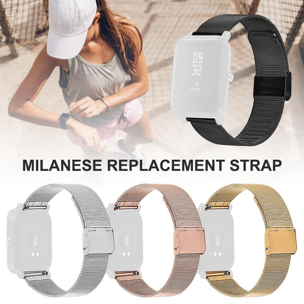 Replacement Strap Milanese Buckle Stainless Steel Metal Watch Band Wristband for Huami Watches Youth Version 20mm Sports 22mm