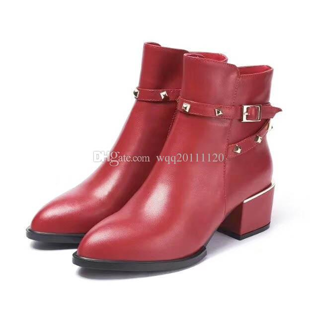 8dffb63948d260 Acheter 2018 Noir Femmes Chaussures En Cuir Véritable Cheville Moto Bottes  Équitation Gladiator Bootie Appartements Découpe Carré Talon Boucle Botte  Mujer ...