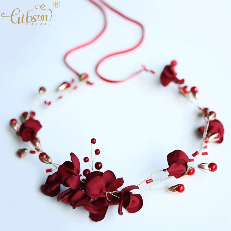 Acheter Fleur Rouge Accessoires Vigne De Cheveux Filles Bandeau