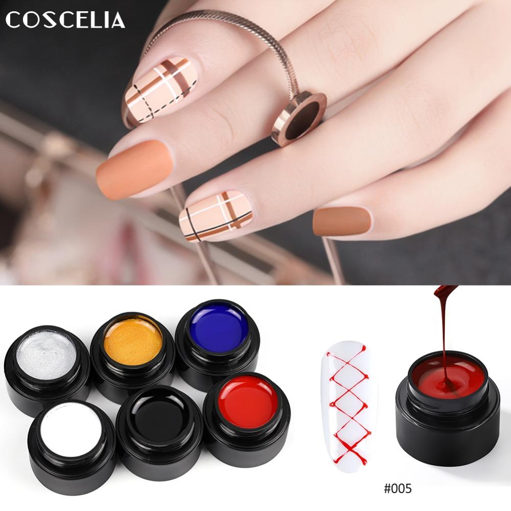 wholesale Nail Art 5ml Painting Gel Varnish Wire Drawing Nail Gel Lacquer Pulling Silk Spider Creative 6 Colors Gel Nail Polish