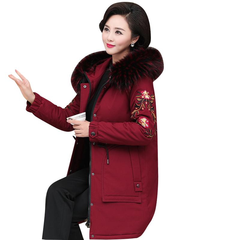 843b576e2 Middle Old Women 2018 Winter Casual Long Down Parka Coats Warm Loose Fur  Collar Hooded Solid Padded Jackets Female Thick Coat