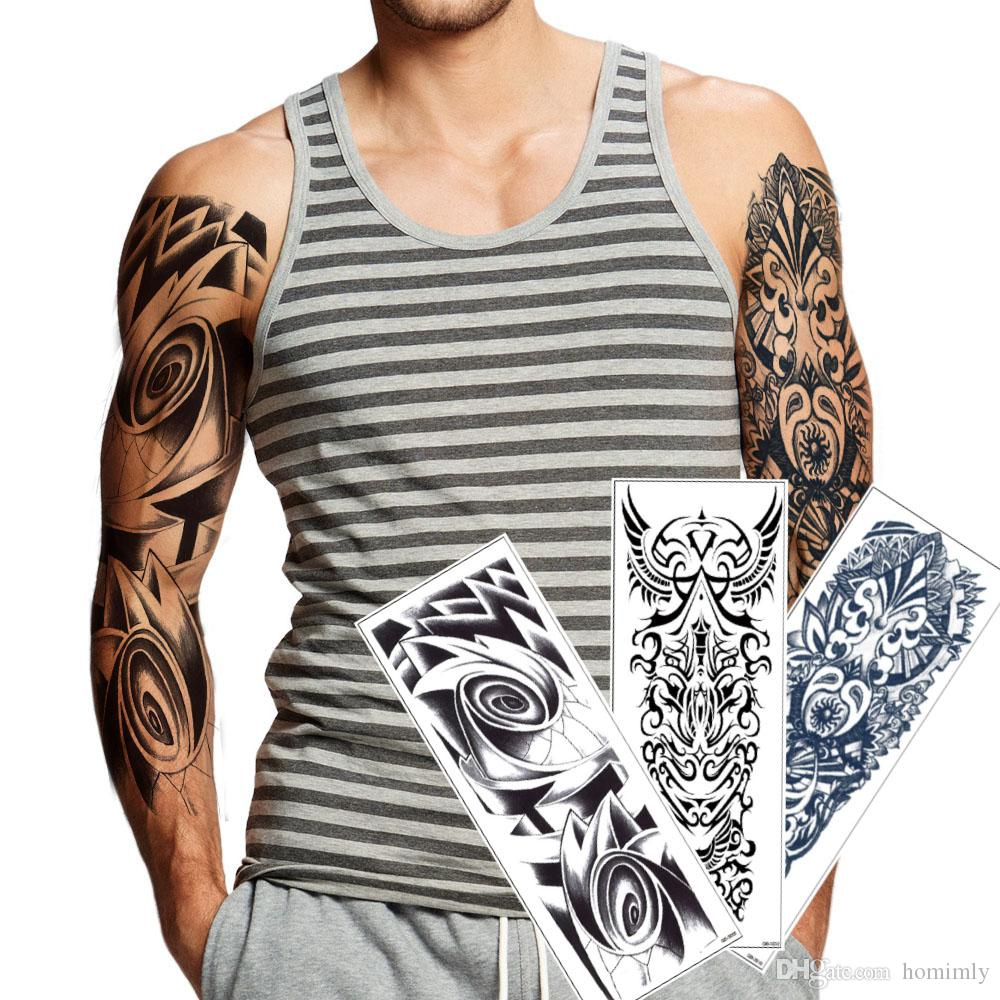 Full Arm Tattoo Sticker For Man Woman Large Big Fake Black Temporary ...