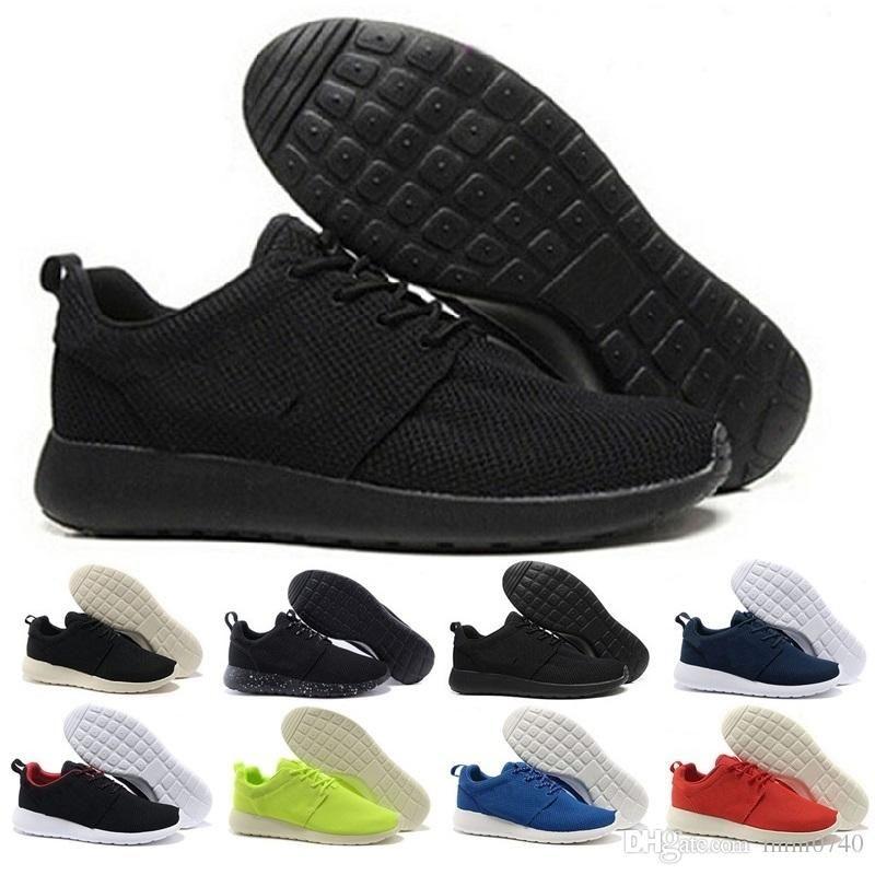 best loved 94dab 9a6bb Acheter Nike Roshe Run 2018 Nouveau Chaussures De Course En Gros Noir Blanc  Rouge Bleu Sneakers Hommes Femmes London Olympic Runs Sports Chaussures De  Sport ...