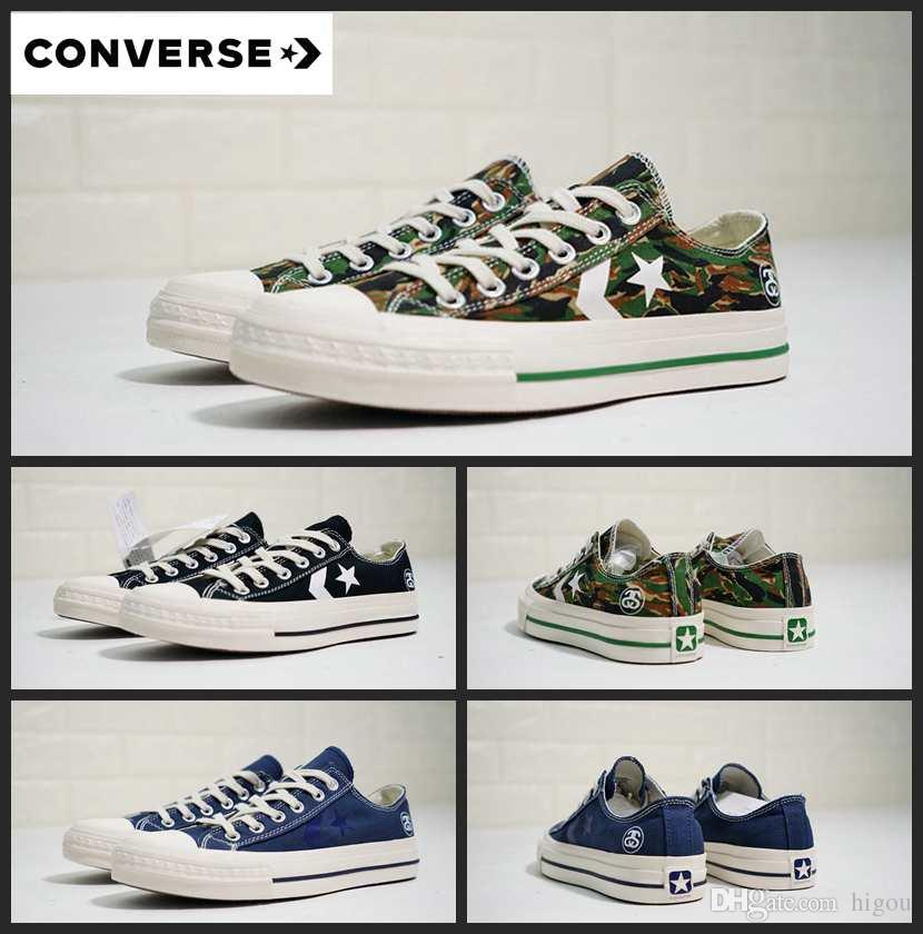 4e29668735 2019 Converse cx-pro Stussy Canvas Shoes White Blue Camo Sdeluxe Chaussures  Chuck zapatos Men Women Casual 1970S Star Sneakers 36-44
