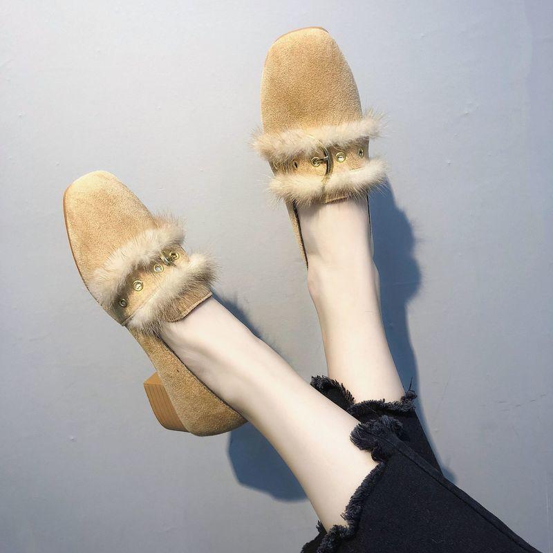 f4d483af3 Dress Shoes Autumn Winter 2019 Women High Heel Pumps Fur Casual Woman  Fashion Square Toe Slip On Elegant Classic Ladies Cheap Shoes Online  Fashion Shoes ...