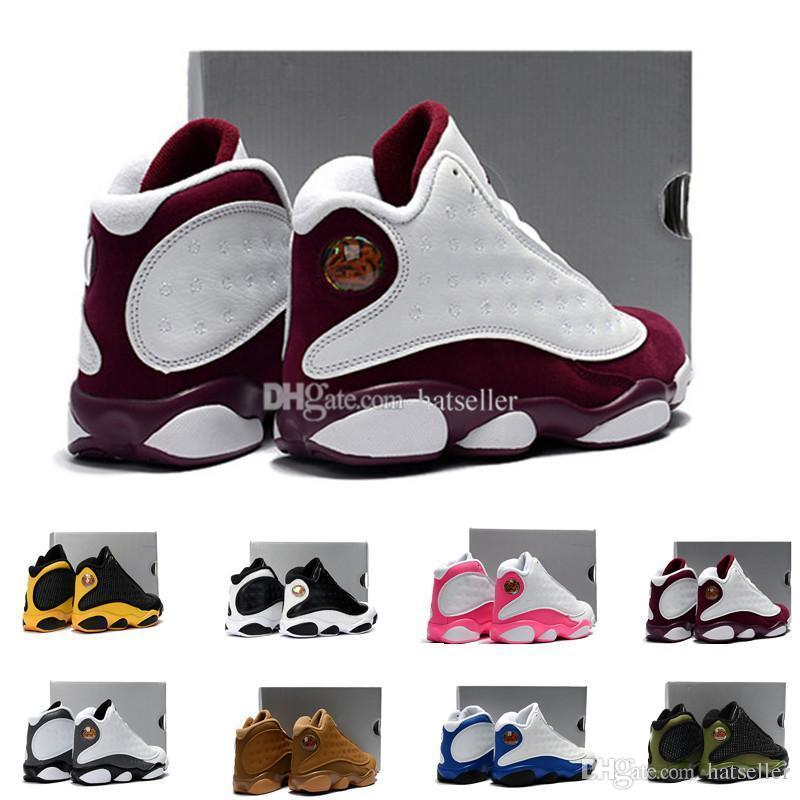 31aadf20b2f0 13 Bordeaux Kids Basketball Shoes Pink Yellow Olive Love Respect Black Cat  Chicago Bred Hof Youth Boy Girl Children 13s Eur28 35 Kids Tennis Shoes  Sale Boys ...
