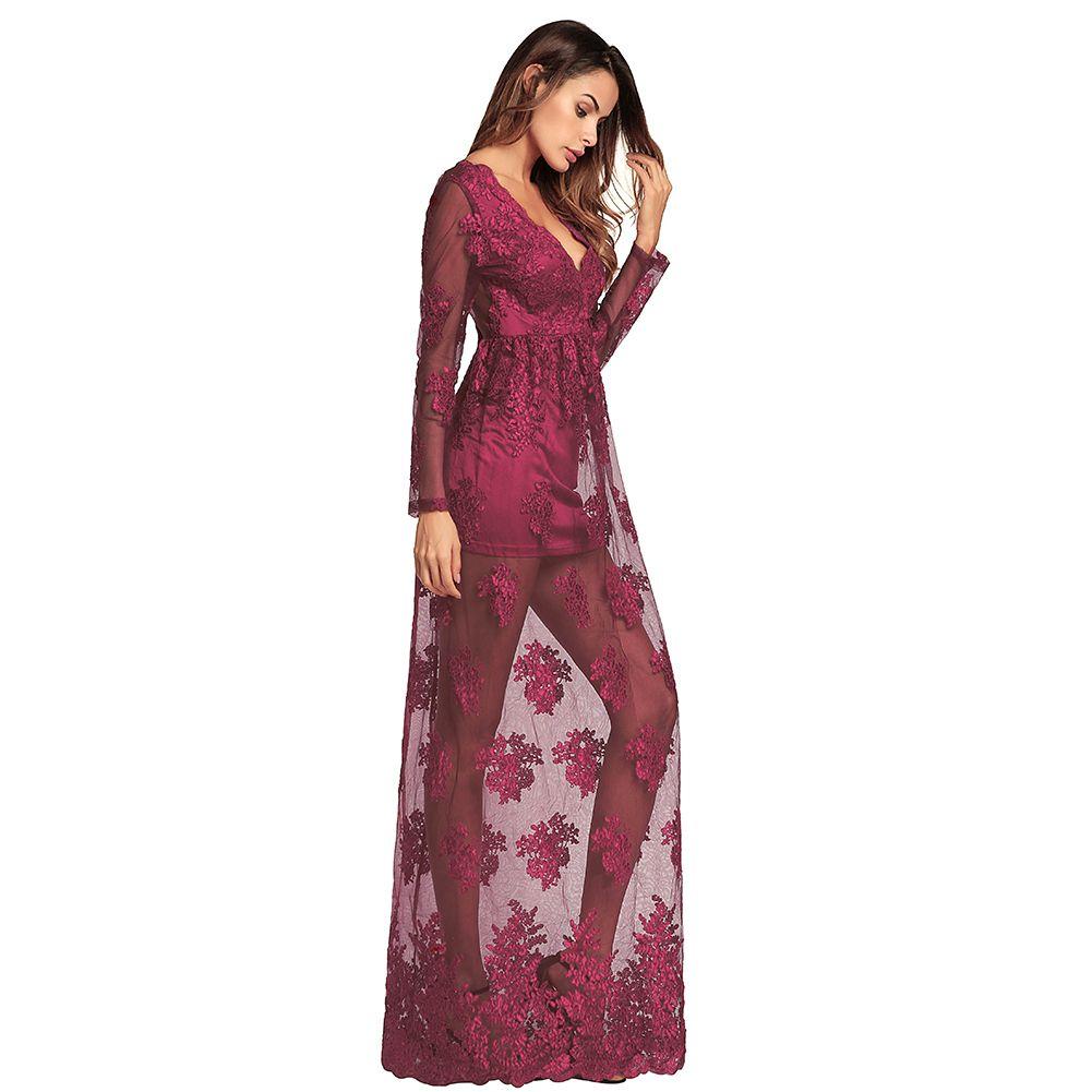 ed14dc7843184 Women Long Sheer Mesh Dress Floral Embroidery V Neck Long Sleeves High  Waist Maxi Dress Female Floor-length Summer Dress 2019