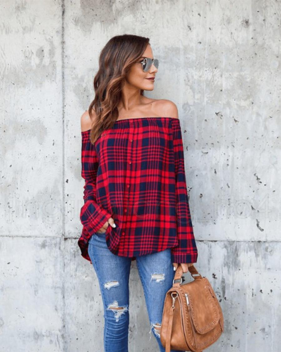 Women's Fashion Plaid Shirts Long Sleeve Slash Blouses Women Fashion Cotton Plus Size Casual Off Shoulder Shirt RRA84 12qp