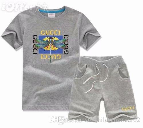 HOT New 2018 top Designer Brand Kids Boys & Girls Sportswear Baby Short Sleeves Suit Kids Set 2-7 T
