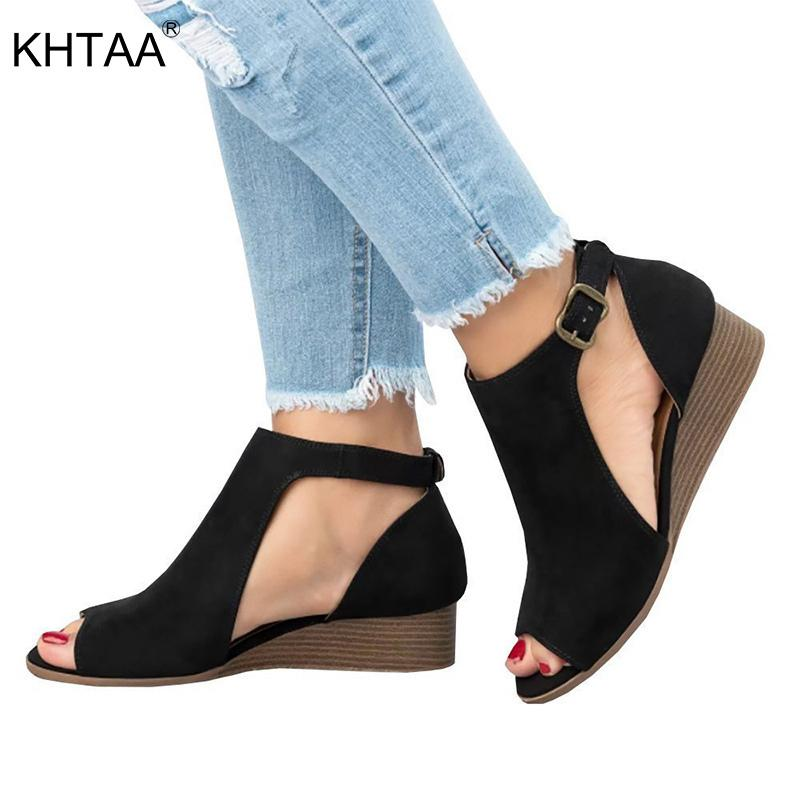 83ad2a91a74a Dress 2019 Women Sandals Summer Wedges Peep Toe Female Ankle Strap Suede  Pumps Cover Heel Platform Fashion Casual Beach Shoes Ladies Black Shoes  Nude Shoes ...