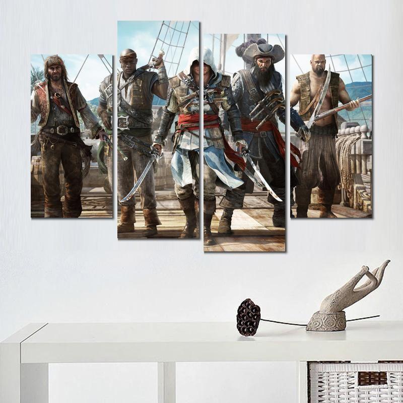 Satın Al Tuval Baskı Boyama 4 Takım Assassins Creed Siyah Bayrak