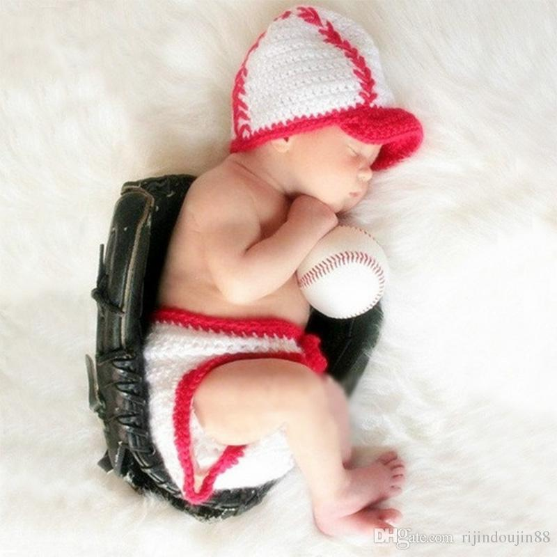 ca777791c2e59 2019 Newborn Photography Props Baseball Costume Baby Photo Props Infant  Crochet Outfit Suit Toddler Boy Girl New Born Fotografia Accessories Gift  From ...