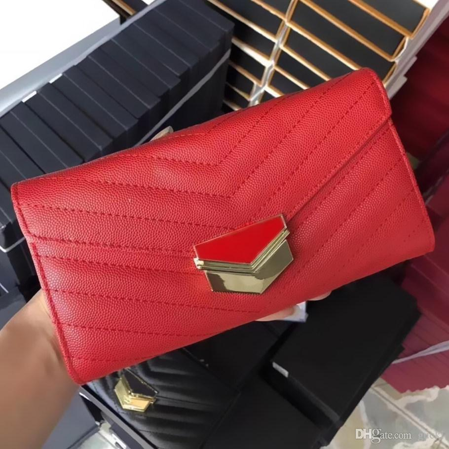 Famous Luxury Brand Women S Wallets Granular Black Hasp Long Wallet Card Holder Interior Pocket Ladies Money Bags 19 5cm Female Pocket
