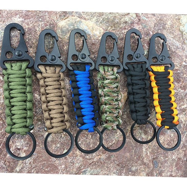 EDC Paracord Rope Keychain Outdoor Camping Survival Kit Military Parachute Cord Emergency Knot Key Chain Ring Camping Carabiner MMA2036-6