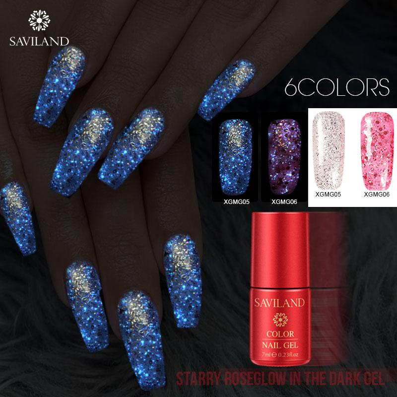Glitter Gel SAVILAND Red Nail Polish Gel étoile lumineuse Soak Off Uv Vernis à ongles Vernis Phosphorescent Or Rose Vernis