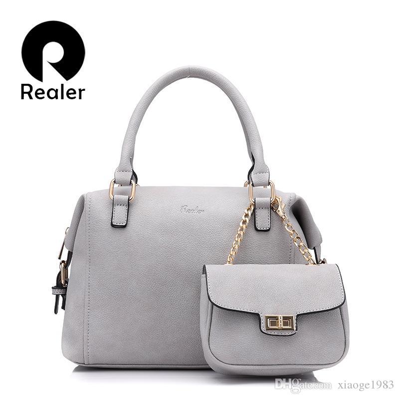 Realer Handbag Women Casual Tote Bag Brand Design Female Solid Boston Bag  Small Shoulder Messenger Bags Chain Clutch Purse 2017 Handbags Brands Hobo  ... b83425615eefa