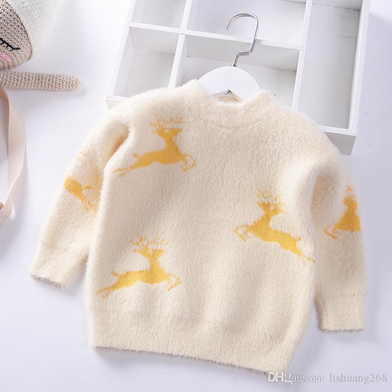 949d68c00504 2019 Autumn Winter Christmas Deer Girls Sweater Jumper Baby Pullover ...