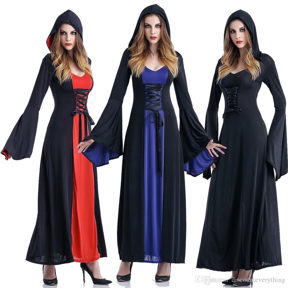 Medieval Sexy Gothic Witch Hooded Dress Adult Women