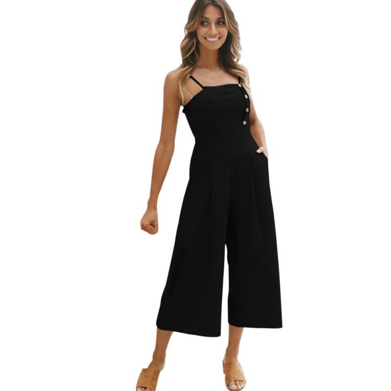 da9dee78da9f Hot Summer Casual Loose Solid Button Jumpsuit Fashion Ladies Long ...