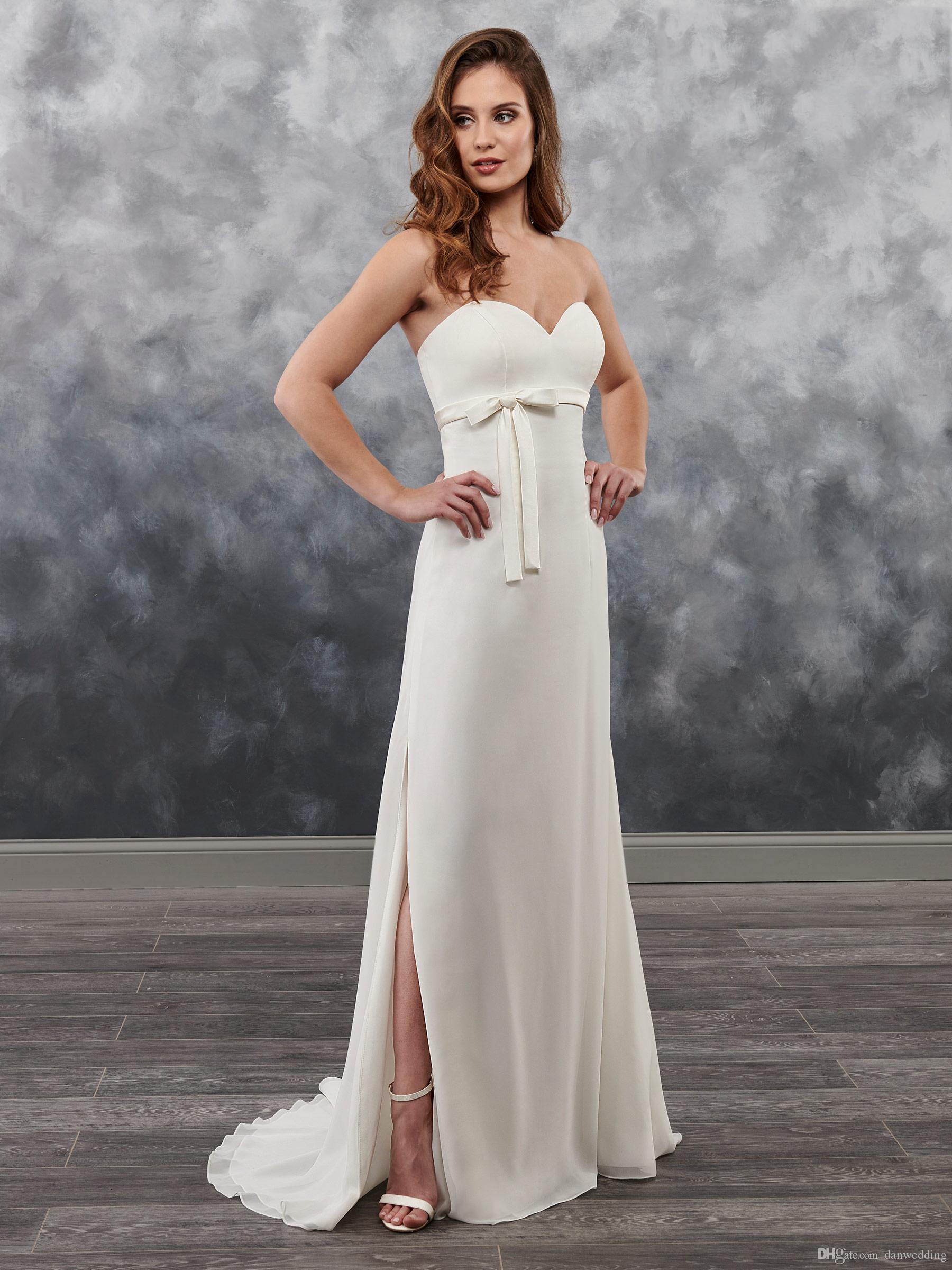 b355267100a Elegant Ivory Chiffon Sweetheart Slit Sheath Wedding Dresses Bridal ...