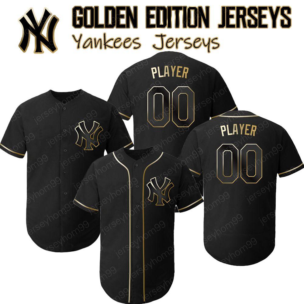 new concept 025c3 f11f6 New York Custom Yankees jerseys Golden Edition Aaron Judge Jersey Mariano  Rivera Mickey Mantle Derek Jeter