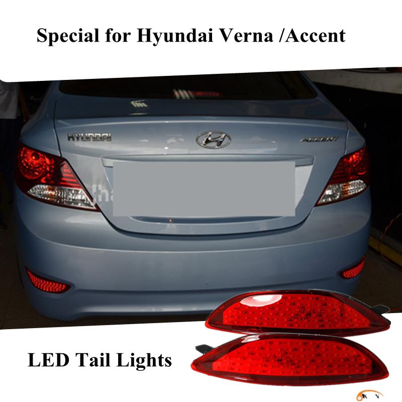 hotsale For Hyundai Accent / 2011-2015 Hyundai Verna Car Styling led  Warning light Tail Lamp Brake Rear Bumper Reflector Light
