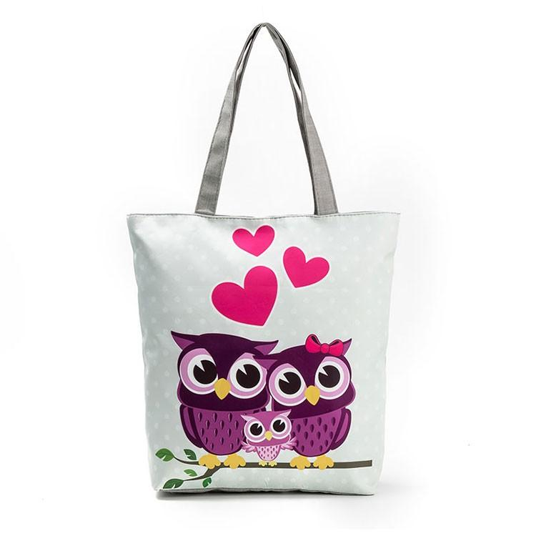 Miyahouse Cute Owl Printed Beach Bag Female Floral Canvas Casual Tote Ladies Shopping Bags Daily Use Single Shoulder Bag Bolsa