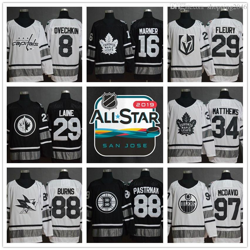 2019 All-Star Game 88 Brent Burns 29 Marc-Andre Fleury 97 Connor McDavid Black  Parley Authentic Player Hockey Jerseys Embroidered Stitched 87 Sidney  Crosby ... fcc089fb8