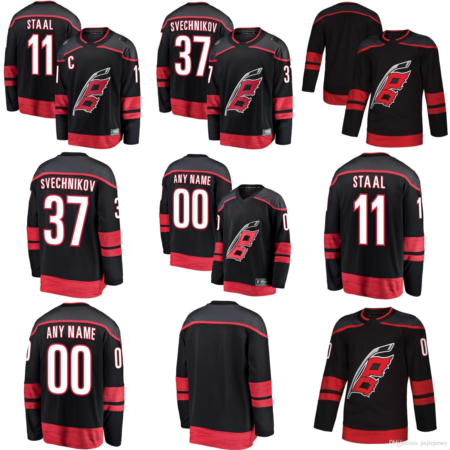 ef1eee02a Cheap Custom Mens Carolina Hurricanes 11 Staal 20 Sebastian Aho 37 ...