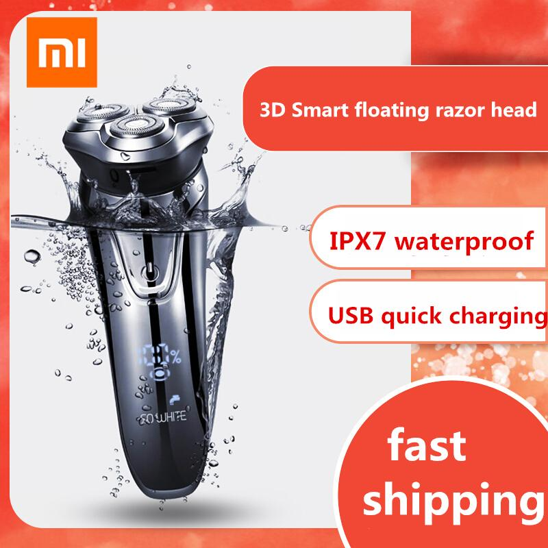 Xiaomi So White Wireless 3d Smart Floating Usb Charging Electric Razor Shaver Ipx7 Waterproof Blocking Protection For Men Personal Care Appliances