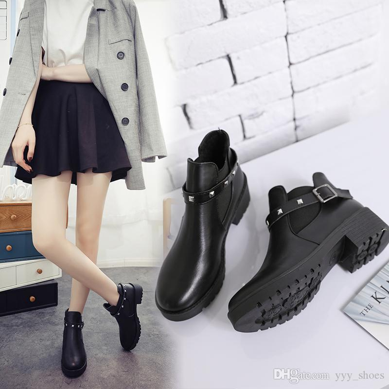 c027c7e9aa391 Ladies Flat Heel Short Boots Womens S Girls Female Shoes Ankle Boot Cool  Martin Boots Thick Chunky High Heel Fast Shipping Work Boots Knee High Boots  From ...