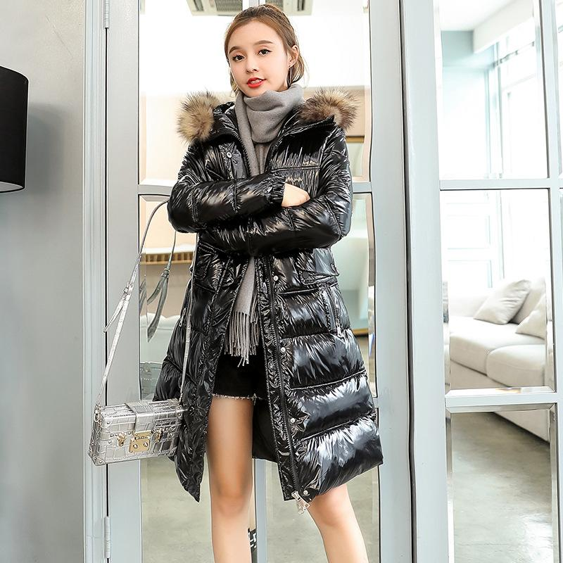 7c3aca4f6e 2019 Shiny Women Down Coat Girl S Winter Long Jacket Hooded Waterproof Top  Female New Thermal Thicken Coats BLUE BLACK GRAY PURPLE From Cfendou