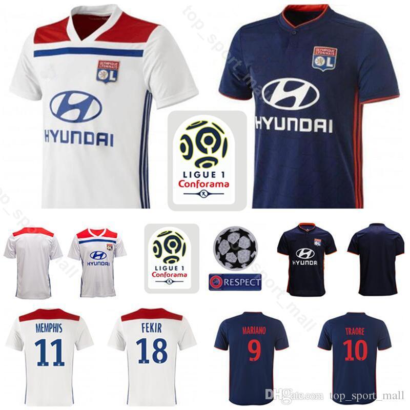 2018 2019 Olympique Lyonnais Lyon Jersey Hombres Fútbol 11 MEMPHIS 18 FEKIR  9 MARIANO 10 TRAORE 8 AOUAR Kits De Camiseta De Fútbol Uniforme Por ... 5e93a9c235318