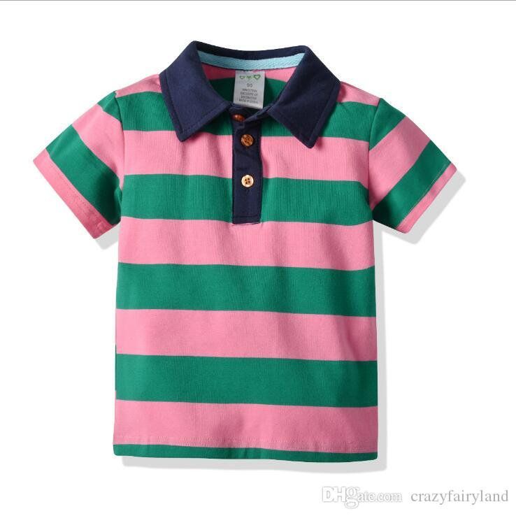 f7f114dd59 2019 Kids Boy Cartoon Striped Polos T Shirts Tops 2019 Summer Short Sleeve  100% Cotton Polo Shirts Tops Tees Kids Casual Clothing Baby Clothes From ...