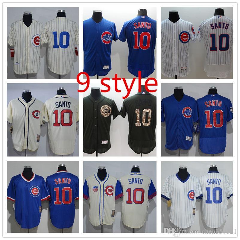 huge selection of 76bfd 27554 Mens Chicago Cubs Majestic Cool Base #10 Ron Santo Jerseys Custom Baseball  Jerseys