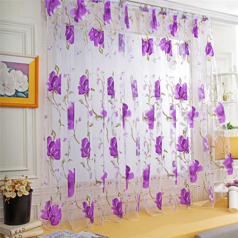 LUFA Sweet Butterfly Tulle Voile Door Window Curtains Drape Sheer Divider Pink
