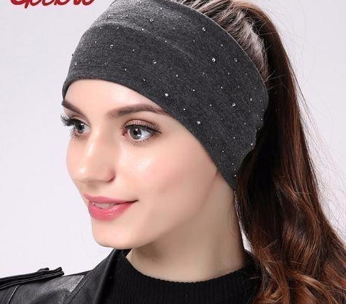d19428ecff0 2019 Brand Women S Rhinestone Headband Fashion Cotton Black Bands For Girls  Elastic Wrap Hair Accessories Headbands Cheap Cheap Floral Headbands From  ...