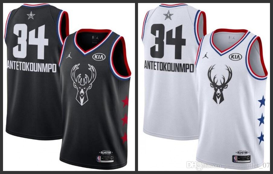 the latest b68e3 714d7 2018-19 All Star Milwaukee Men Bucks Basketball Jerseys Giannis  Antetokounmpo Black white Jersey