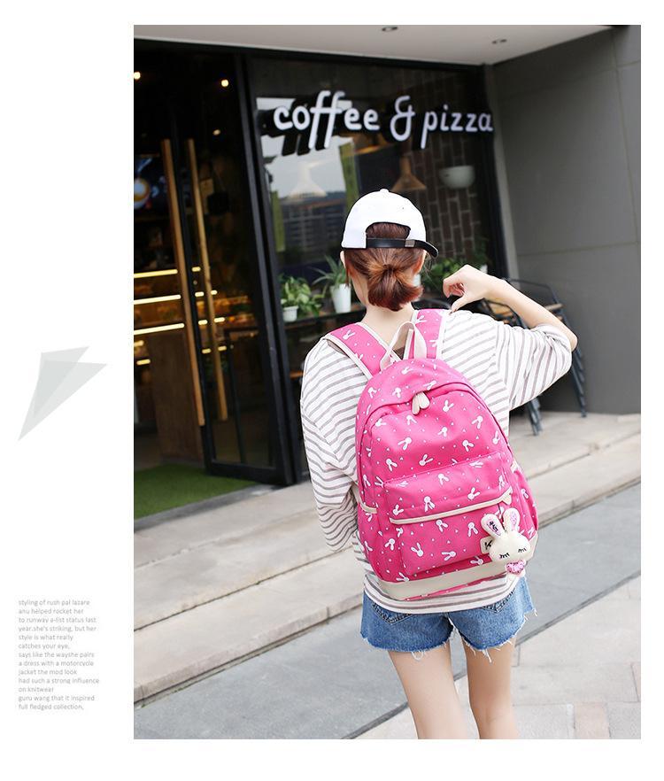 /Sets New Women Backpacks Cartoon Rabbit Printing School Backpack Canvas Schoolbags for Teenage Cute Girls Bookbag Children
