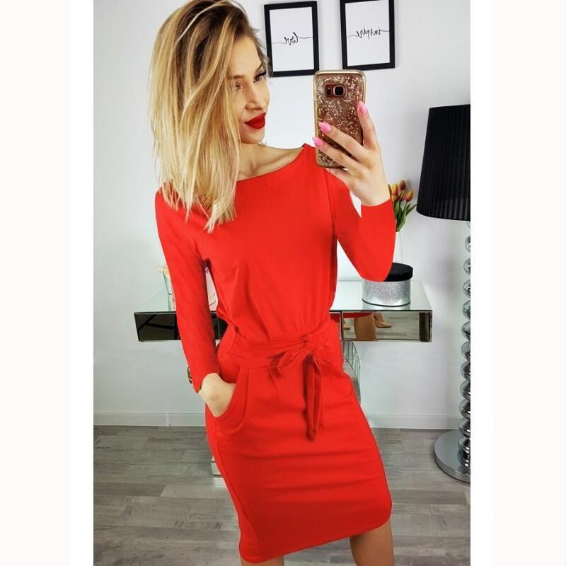 9fbd3a5886f Women Slim Bodycon Pencil Dress Plus Size 2018 Autumn O-Neck Sexy Wrap Dresses  Long Sleeved Woman Fashion Solid Sashes Dress High Quality Dresses Dresses  ...