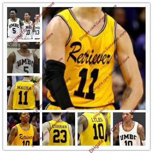 low cost 90193 70812 KJ Maura NCAA UMBC Retrievers David Park Jairus Lyles 13 Joe Sherburne 5  Jourdan Grant Horvath Gold white Stitched College Basketball Jersey