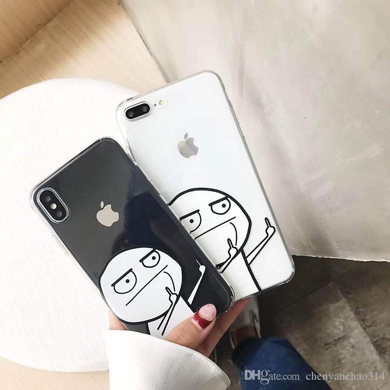 Funny Cartoon Middle Finger Phone Case For iPhone X 6S 6 7 8 Plus Ultra thin Soft TPU Back Cover Cases for iPhone 7Plus