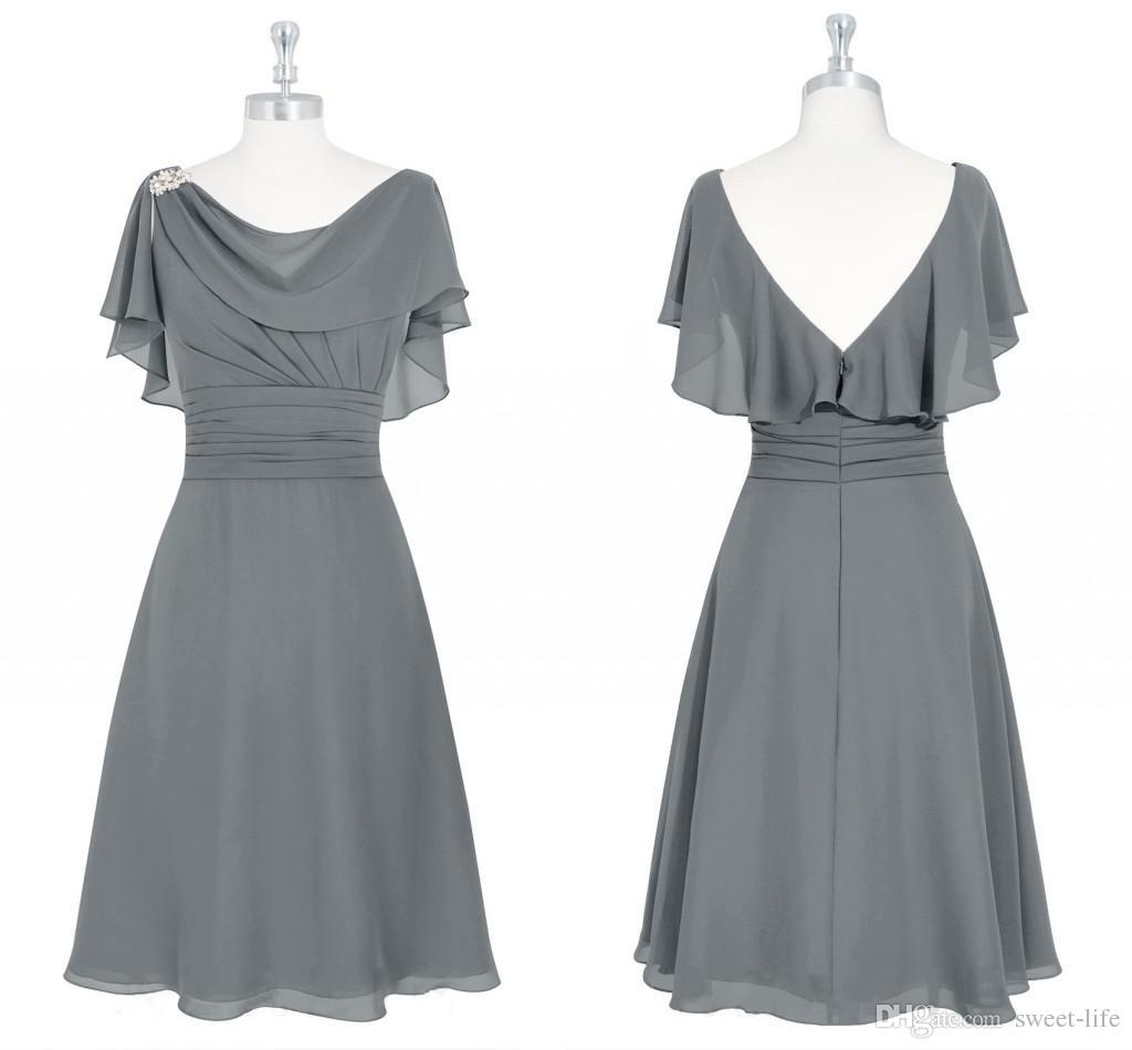00ad2b0209 Gray Short Mother Of The Bride Dresses Scoop Neck Ruffles Knee Length  Backless Wedding Guest Dresses Mother Dresses For Wedding Mothers Of The Bride  Dresses ...