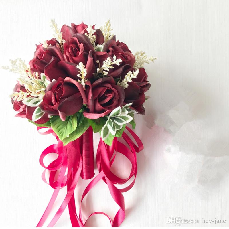 Wholesale Wedding Flower Packages: In Stock Ready To Ship Red Rose Ribbon Flower Wedding